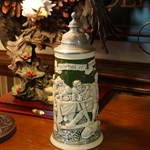 Beer Stein, Marzi & Remy, Catalog Number 1801, 0.5L, Pottery, relief, pewter lid.