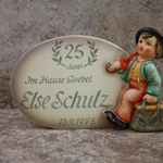 M.I. Hummel 187 Plaque, In German Tmk 5, 1947, 25 Years of Service, Else Schulz, Type 1