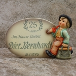 M.I. Hummel 187 Plaque, In German Tmk 5, 1947, 25 Years of Service, Diet. Bernhardf, Type 1